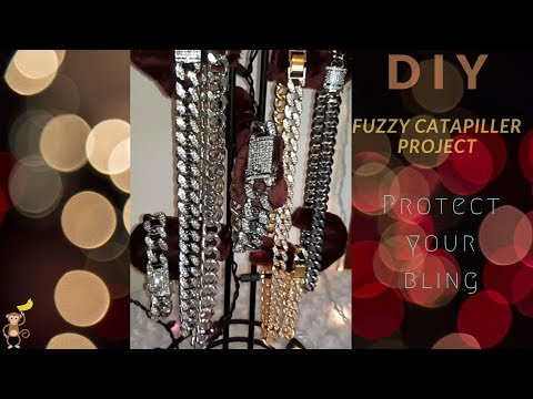 DIY  Metal Jewelry holder protector AKA Fuzzy Caterpillar Project