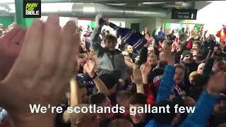Rangers fans during half time at Celtic Park