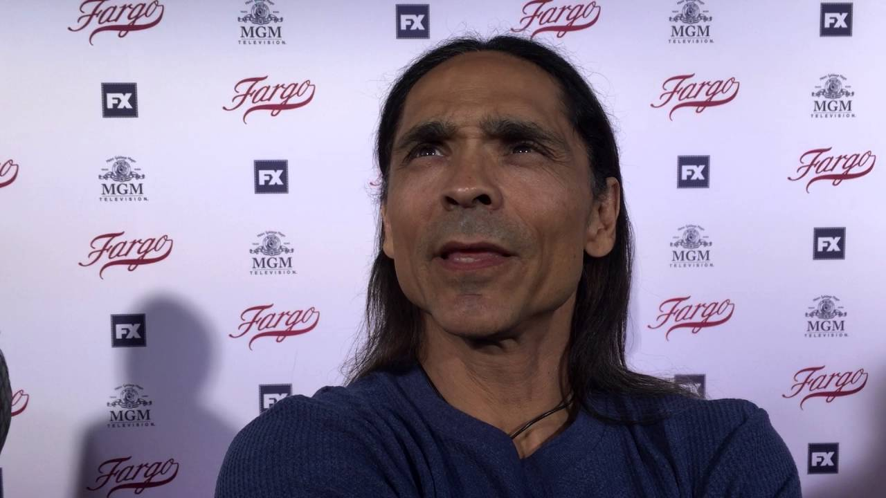 zahn mcclarnon chats on the fargo red carpet for an emmy voter fyc