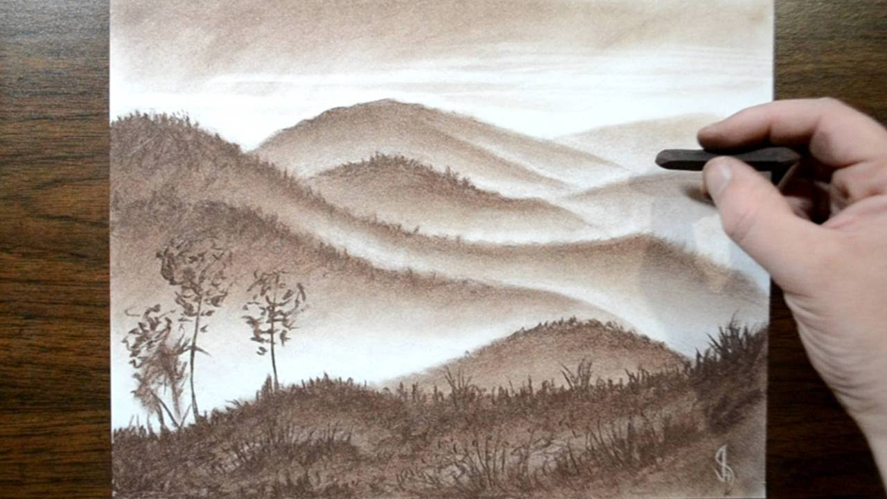 Drawing a misty landscape with a conte crayon