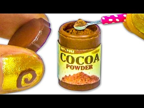 Miniature doll cocoa or chocolate powder plastic jar DIY tutorial - YolandaMeow♡