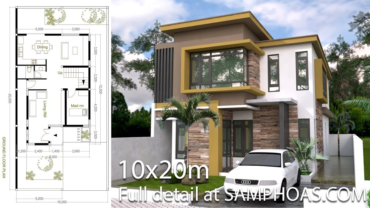 SketchUp Modern Home Plan Size 8x12m With 3 Bedroom - YouTube