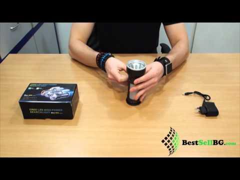 Акумулаторен фенер, прожектор и къмпинг лампа CREE T6 със зарядно и две акумулаторни батерии 18650