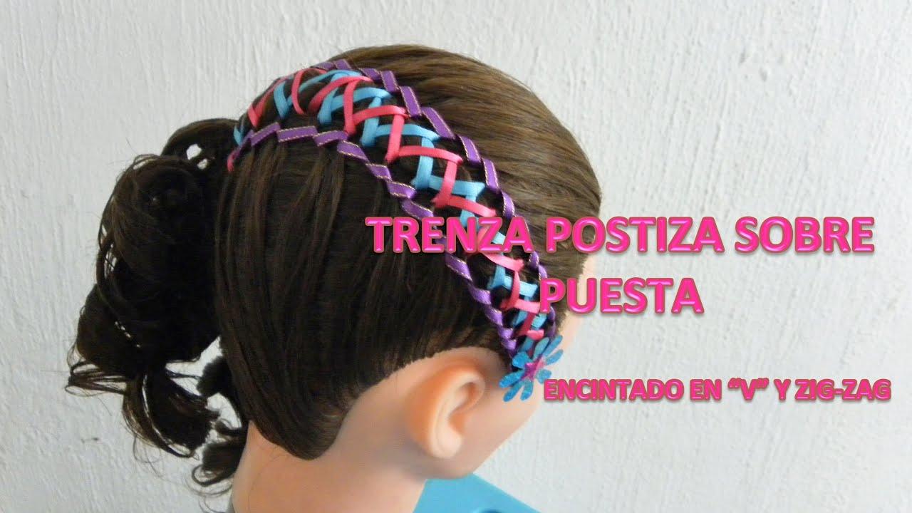 peinados para nias con trenza sobre puesta con encintado v y zigzag peinados con trenzas youtube