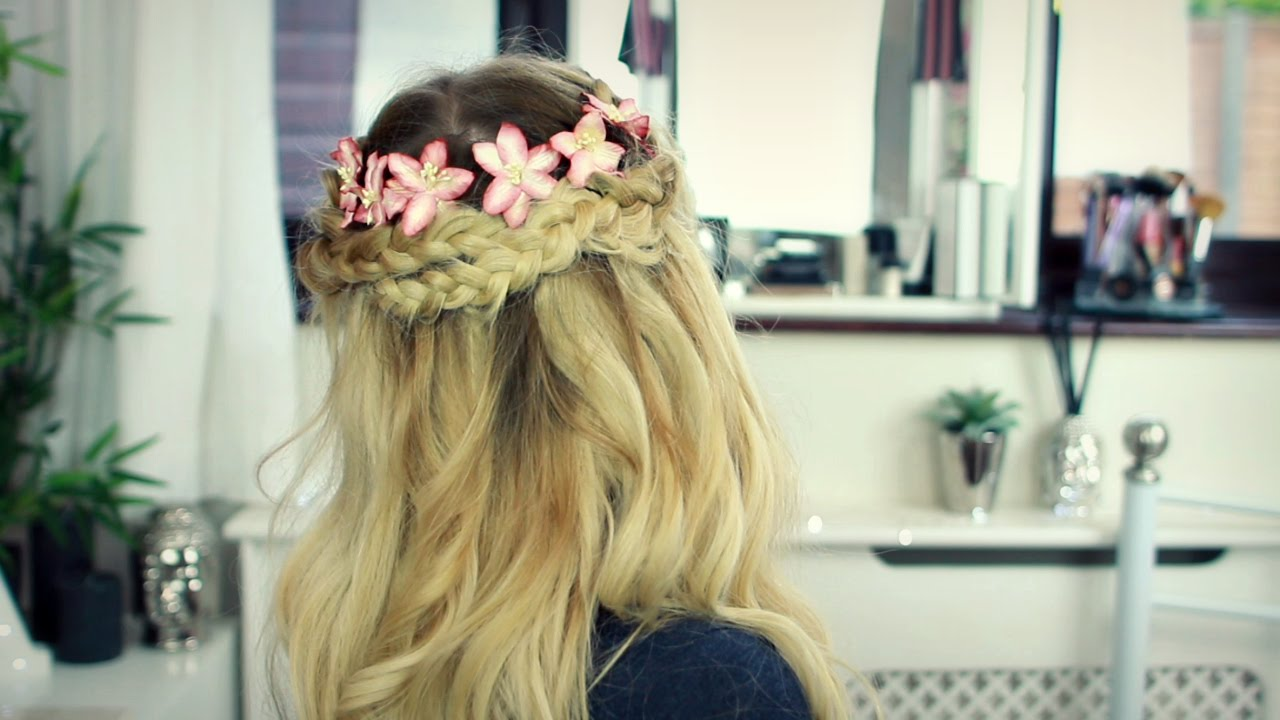 Prom Hair Tutorial Floral Braided Crown With Clip In Hair
