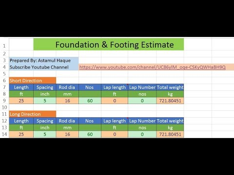 Civil Engineering Estimate Footing and Foundation Estimate Excel