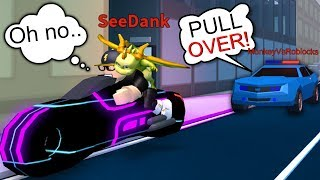PULLING OVER YOUTUBER ON THE VOLT BIKE!! (Roblox Jailbreak)