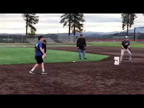 ELIJAH HAINLINE 2021 Shortstop Freshman Varsity infield drills