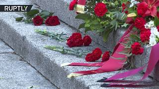 WWII 75th Anniversary | Berliners lay flowers at Soviet War Memorial