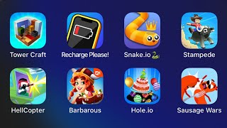 Tower Craft,Recharge Please,Snake.io,Stampede,Hell Copter,Barbarous,Hole.io,Sausage Wars