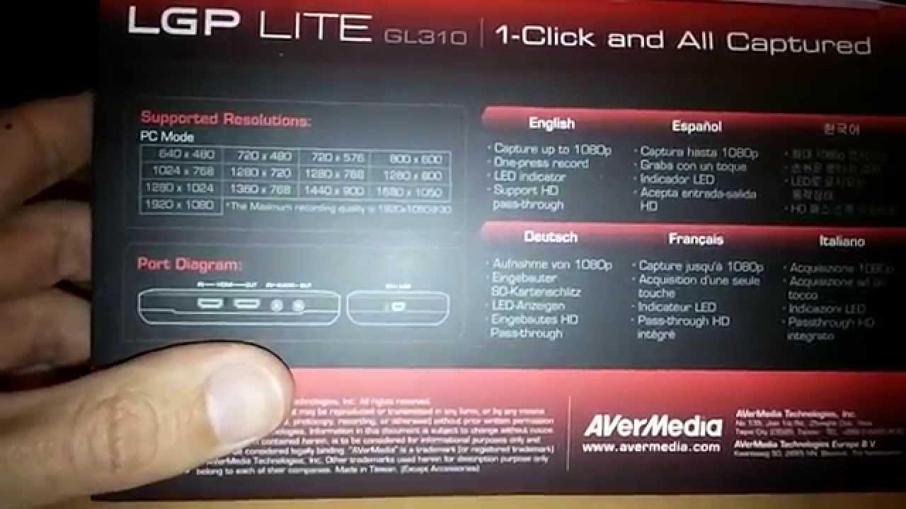 avermedia live gamer portable lite gl310 unboxing configuraci n test hora del unboxing. Black Bedroom Furniture Sets. Home Design Ideas