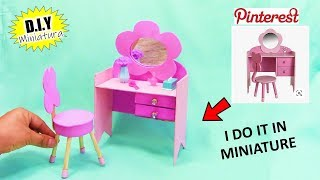 Miniature DIY Dressing table | Miniature Craft | Doll house dressing Table