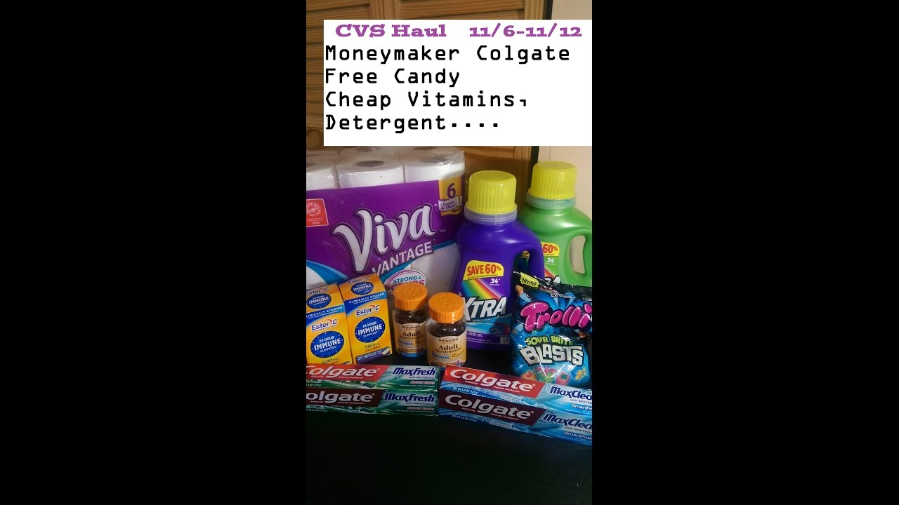 CVS HAUL 11/6-11/12  Moneymaker Colgate toothpaste, Free candy, cheap  vitamins and more
