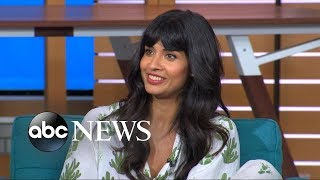 'The Good Place' star Jameela Jamil reveals how she lost her tooth in on-set fall