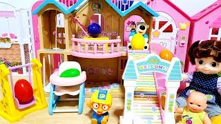 Baby doll pink car toys and slide house toys and Pororo and surprise eggs baby Doli play