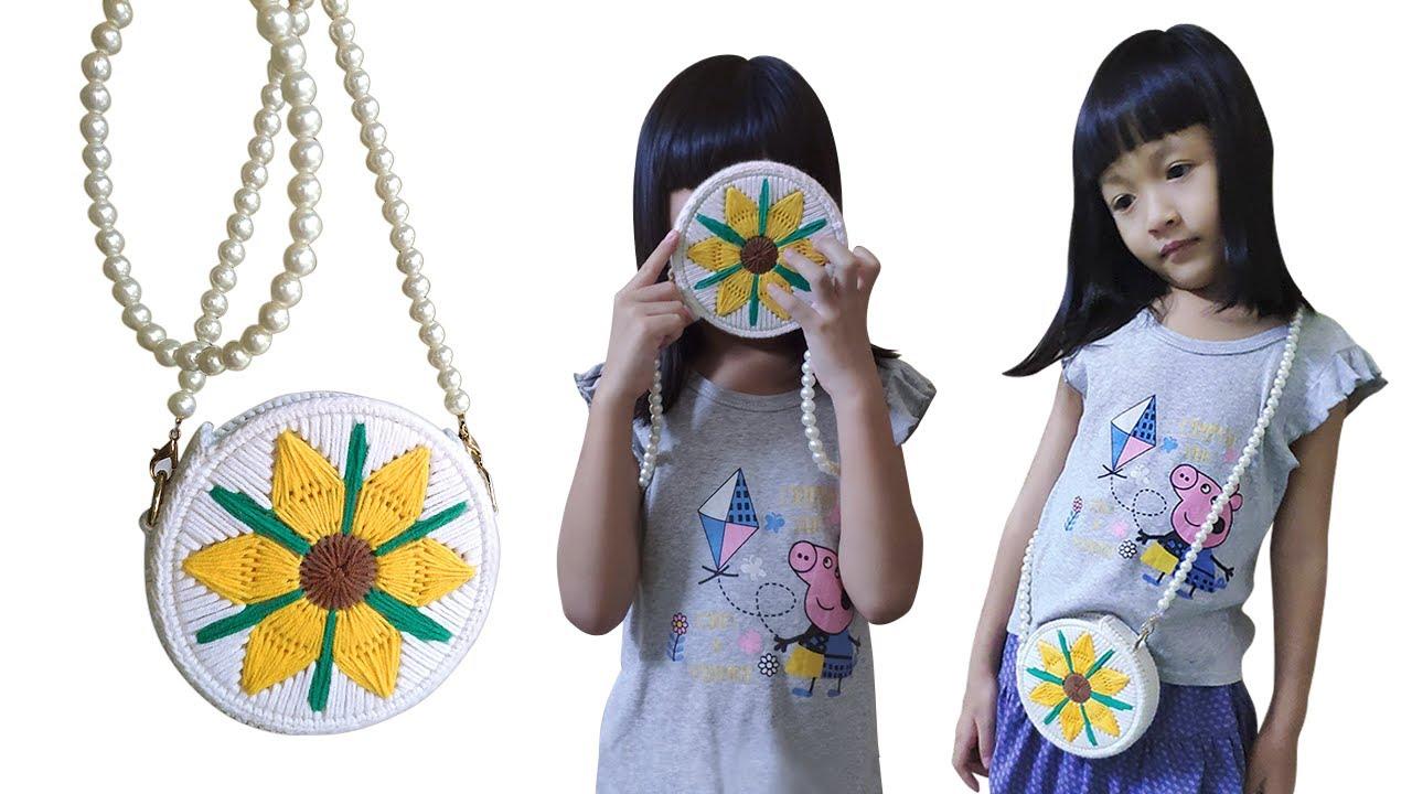 [Crochet] Thêu Túi Hoa Hướng Dương Len Cotton 4S- Embroidery Bag Sunflower Wool Cotton 4S