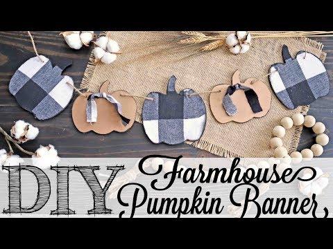 DIY Farmhouse Plaid Fabric Pumpkin Banner