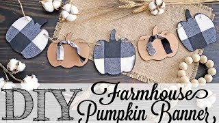 DIY Farmhouse Plaid Fabric Pumpkin Banner