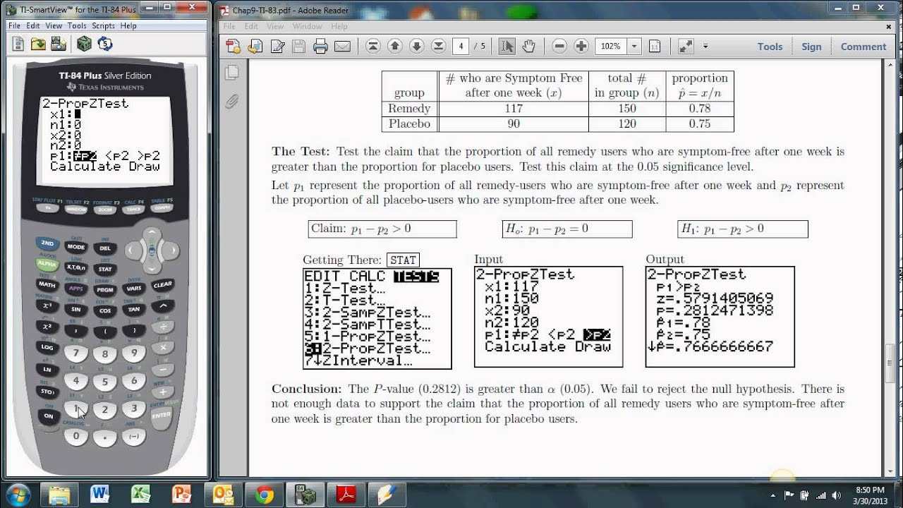 Hypothesis Tests About Two Proportions With The Ti 83 84 2 Propztest