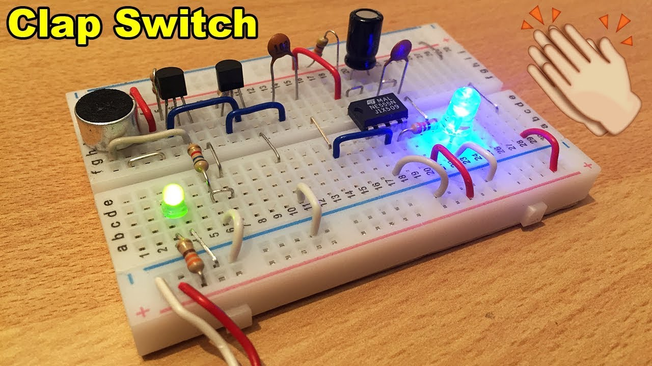 Clap Switch Circuit With Ne555 And Bc547 Electric Diagram In Video Using Ic 555 Electronicprojects Electronic