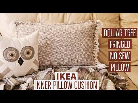 Dollar Tree Fringe No Sew Pillow | IKEA Inner Cushion