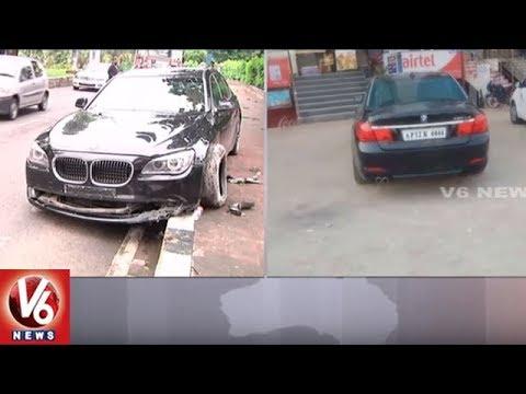 BMW Car Hits Divider In Banjara Hills Road No.12 | Hyderabad | V6 News