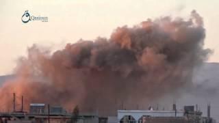 وكالة قاسيون  الطيران المروحي يستهدف بلدة سملين بريف درعا بالبراميل المتفجرة 6-12-2015