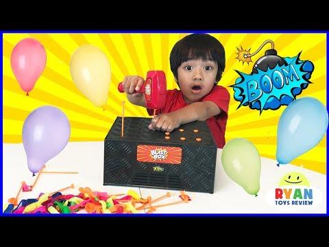 BLAST BOX BALLOON EXPLOSION Pop Challenge! Family Fun Egg Surprise Toys for Kids