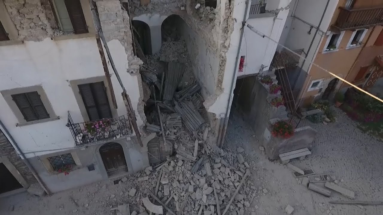 Drone footage shows devastation of Italy earthquake