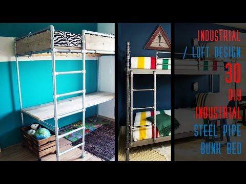30 DIY Industrial Steel Pipe Bunk Bed