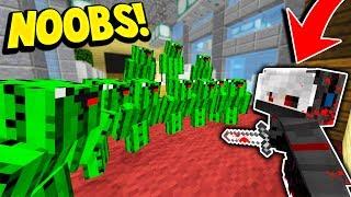 10 CACTUS NOOBS vs 1 MURDERER! (Minecraft Murder Mystery Trolling)