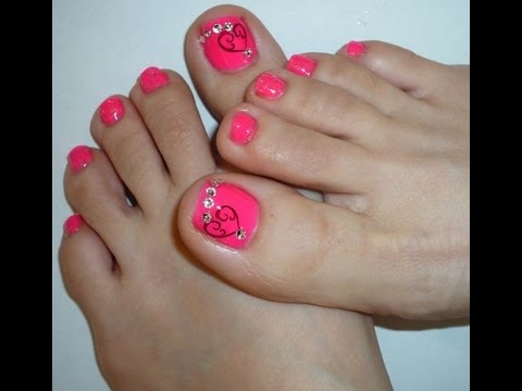 Valentine's Day 2014 Toe Nail Design - Valentine's Day 2014 Toe Nail Design - YouTube