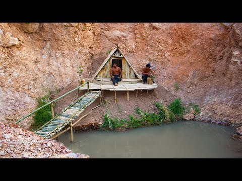 Build bamboo house near nature swimming pool on the cliff | Building Skill
