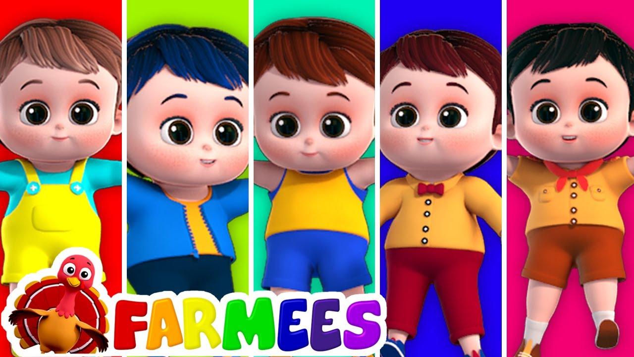 Cinco pequenos bebês | Canção infantil | Educação | Farmees Português | Desenhos animado