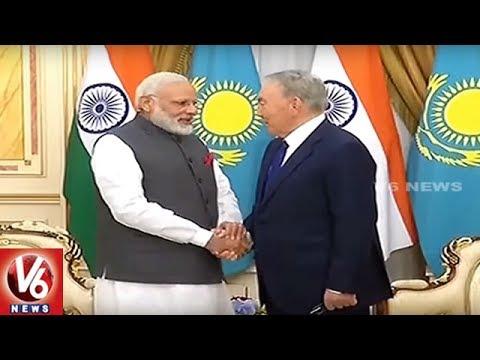 PM Narendra Modi Meets Kazakhstan President Nursultan Nazarbayev || V6 News