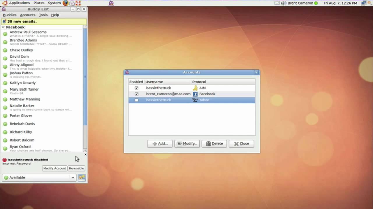 Using Pidgin instant messenger in Ubuntu Linux