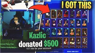 I Donated to a Small Streamer and 1v1ed for his RARE Fortnite Account..