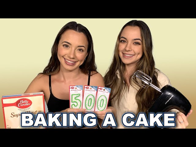 BAKING A CAKE FOR OUR 500th VIDEO - Merrell Twins Live