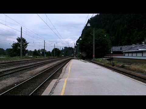 Slow Freight Train OBB Austria State Railways at Brixlegg,Tirol,Austria