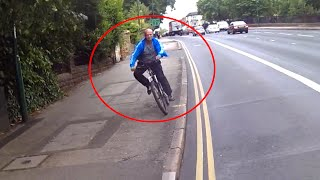 Cyclist on wrong side of road then jumps onto pavement
