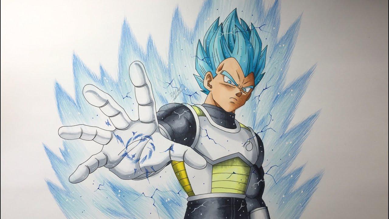 ベジータ 超サイヤ人ブルー 描いてみた/Drawing Vegeta Super Saiyan Blue