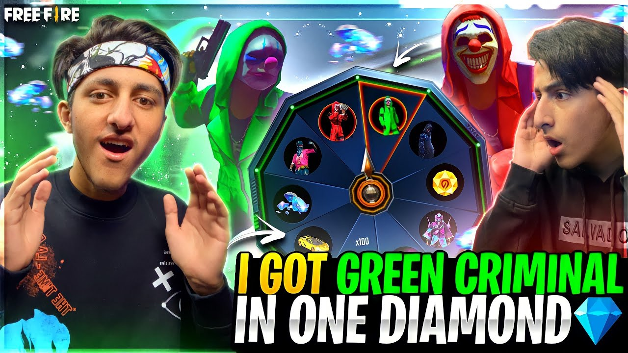 Got Green Criminal In 1 Spin ?? My Brother Funny Reaction ?Luckiest Subscriber- Garena Free Fire