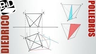 Tetraedro con una arista en plano horizontal de proyección y la opuesta paralela a él.
