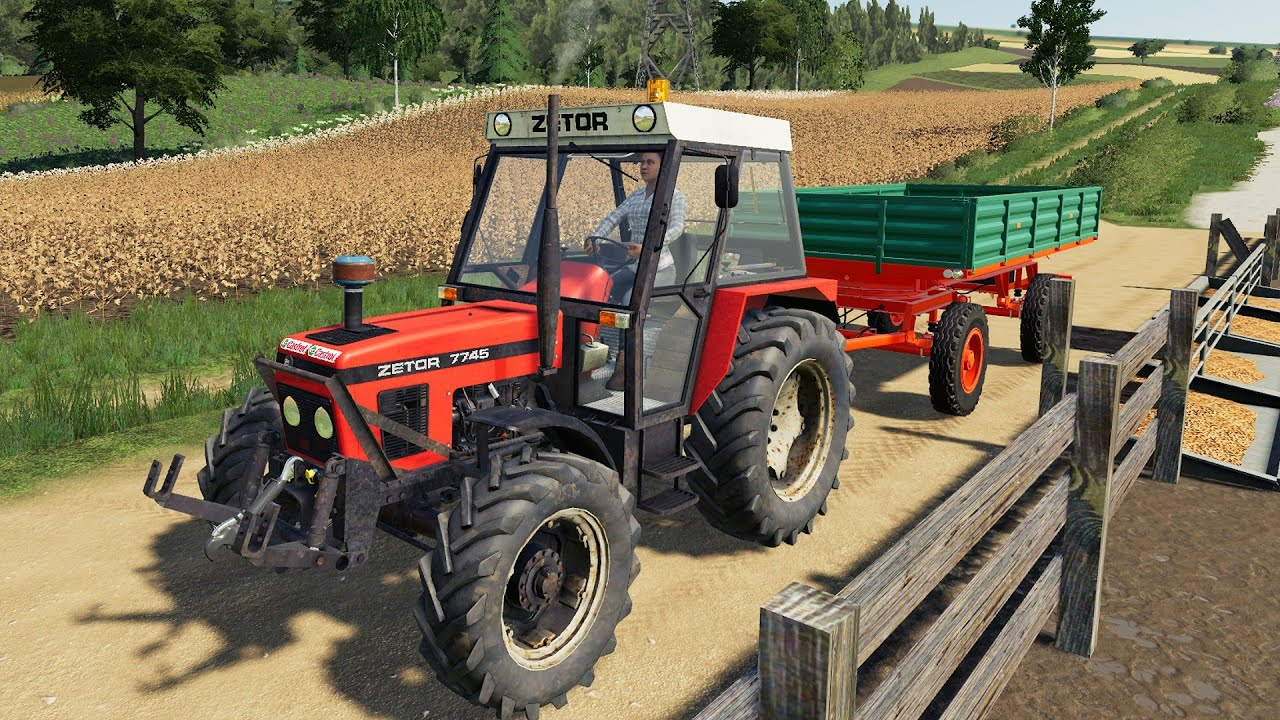 Work on the Farm - Picking Up Straw For Pigs   Tractor Farm Adventure - Woman in Tractor LS19