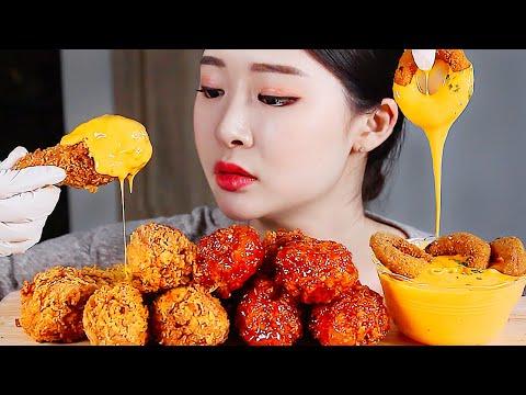 황금올리브닭다리치킨 체다치즈 리얼사운드먹방 / Fried Chicken Cheese Sauce ไก่ทอด gà rán フライドチキン Mukbang Eating show