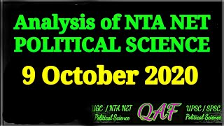 Analysis of NTA NET Political Science 9 Oct 2020