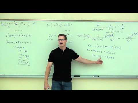 Intermediate Algebra Lecture 7.5: Solving Rational Equations (Equations with Rational Expressions)