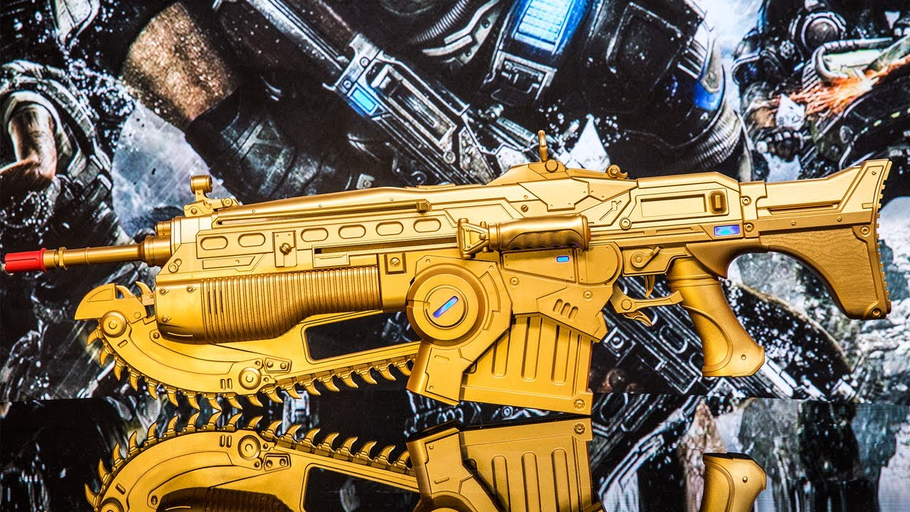 Gears of War LIFE-SIZE Gold Lancer Unboxing!