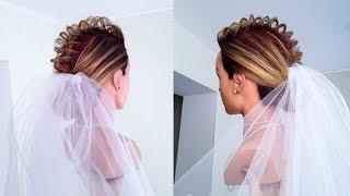 видео Свадебные прически на каре с челкой, фатой